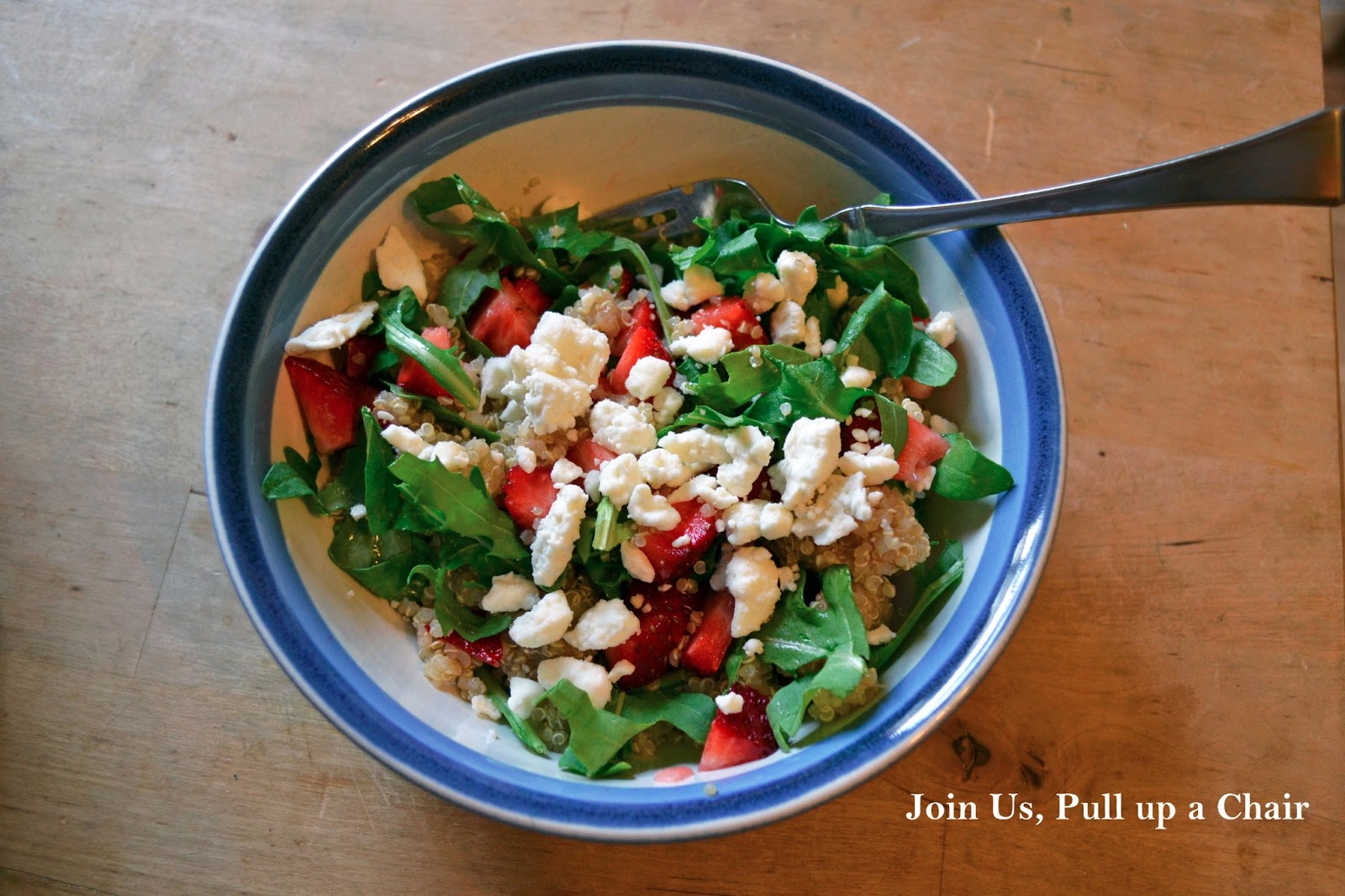 1 Cup Quinoa Dry 2 Cups Water 2 Cups Strawberries Hulled And Chopped 6 Oz Reduced Fat Feta Cheese 1 Cup Chopped Arugula 1 2 Cup Balsamic Vinegar