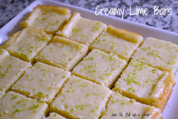 Creamy Lime Bars - #FilltheCookieJar   Join Us, Pull up a Chair