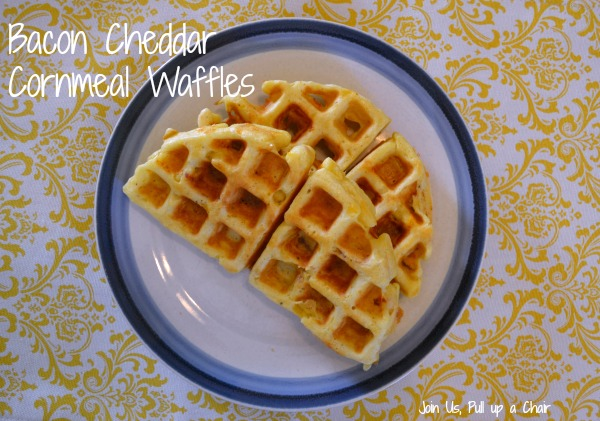 Bacon Cheddar Cornmeal Waffles | Join Us, Pull up a Chair