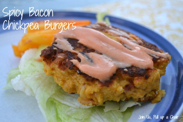 Spicy Bacon Chickpea Burgers | Join Us, Pull up a Chair #secretrecipeclub