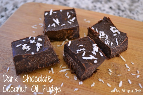 Dark Chocolate Coconut Oil Fudge #Choctoberfest | Join Us, Pull up a Chair