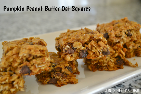 Pumpkin Peanut Butter Oat Squares | Join Us, Pull up a Chair #FilltheCookieJar