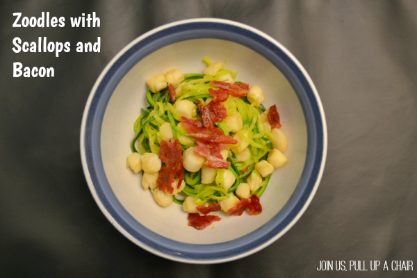 Zoodles with Scallops and Bacon | Join Us, Pull up a Chair