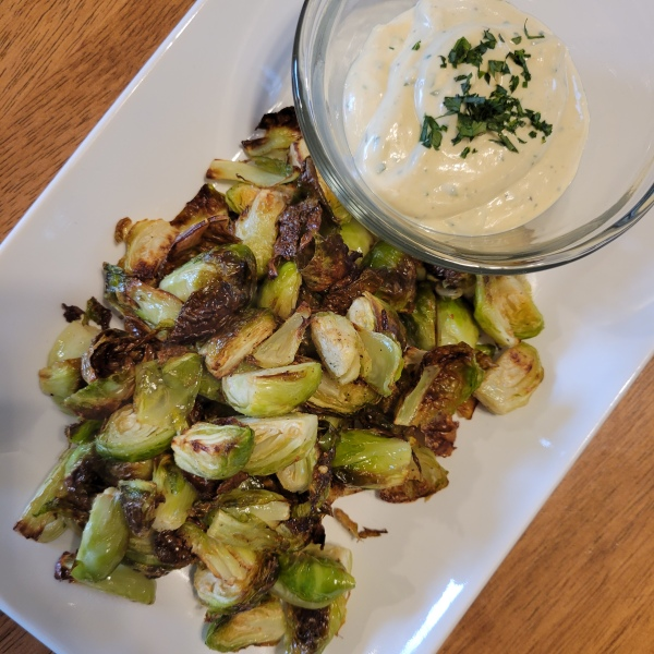 Roasted Brussels Sprouts with Dijon Aioli